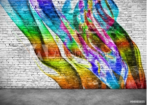 Picture of abstract colorful graffiti on brick wall