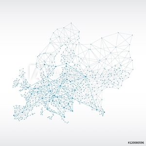 Picture of Abstract telecommunication Europe map concept with circles and lines