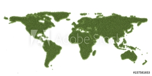 Picture of Ecology world map, from green grass. 3D rendering