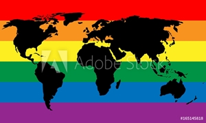 Picture of Black world map silhouette on LGBT rainbow pride flag background. Lesbian, gay, bisexual, and transgender stylish design element. Simple flat vector illustration.