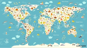 Picture of Animals world map. Beautiful cheerful colorful vector illustration for children and kids. With the inscription of the oceans and continents. Preschool, baby, continents, oceans, drawn, Earth