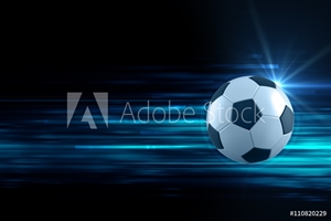 Picture of 3d illustration of soccer ball in blue light streak background