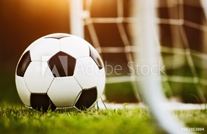Picture of Closeup soccer ball on green grass