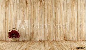Picture of Old wooden room with wicker basket