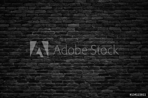 Picture of black brick wall, dark background for design