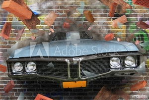 Picture of Background color of street graffiti on a brick wall