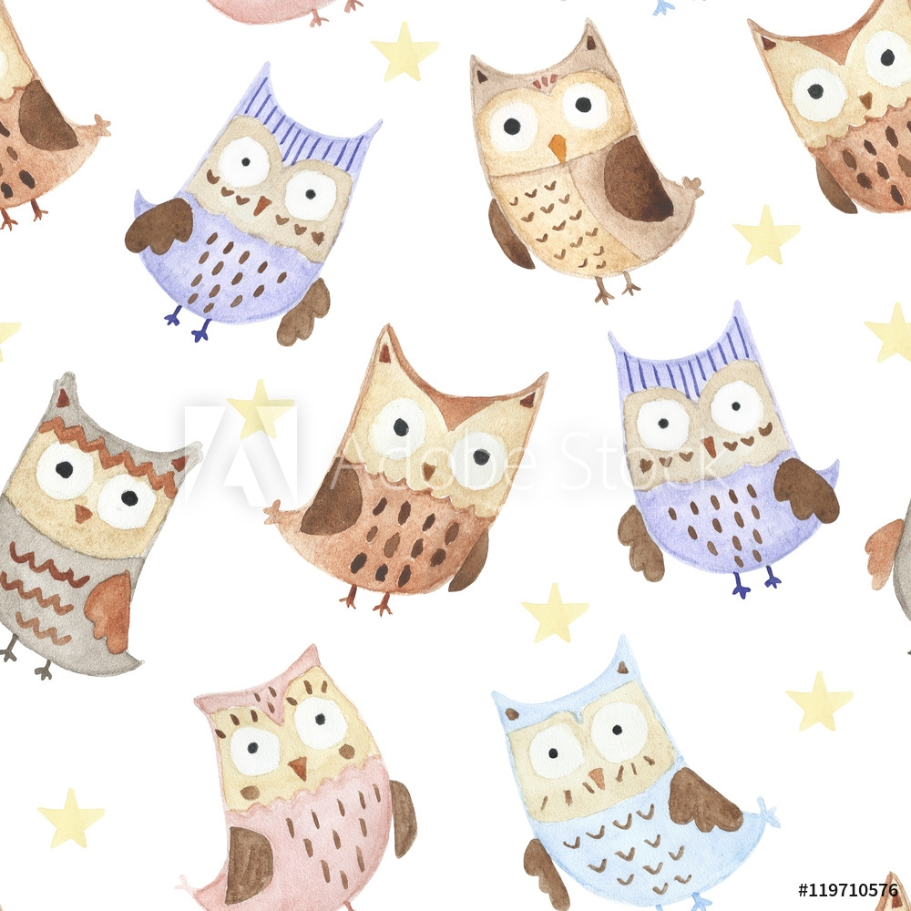 Picture of Adorable watercolor owls seamless pattern