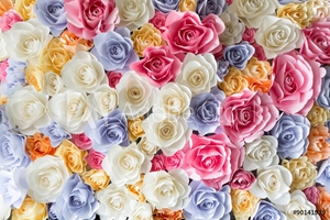 Picture of Backdrop of colorful paper roses