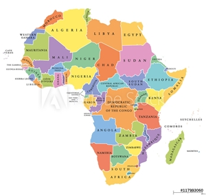Picture of Africa single states political map. Each country with its own color area. With national borders on white background. Continent including Madagascar and island nations. English labeling.