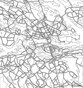 Picture of Black and white scheme of the  Stockholm, Sweden. City Plan of   Stockholm