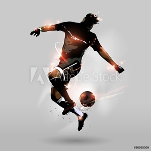 Picture of abstract soccer jumping touch ball