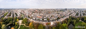 Picture of Aerial view of Amsterdam city roofs beside Sarphati park