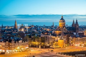 Picture of Amsterdam skyline in night, Amsterdam, Netherlands.