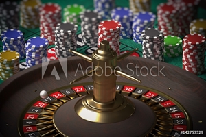 Picture of 3D rendered illustration of casino roulette. Gambling concept.