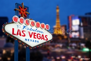 Picture of LAS VEGAS - MAY 12 : Welcome to fabulous Las Vegas neon sign wit