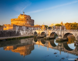 Picture of Holy Angel Castle at sunset, Rome, Italy, Europe. Rome ancient tomb of emperor Hadrian. Rome Holy Angel Castle (Castel sant'Angelo) is one fo the best known landmark of Rome and Italy.