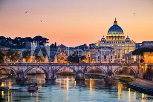 Picture of Night view of the Basilica St Peter in Rome, Italy