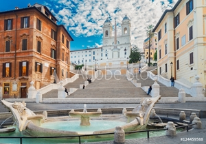 Picture of famous Spanish Steps with fountain, Rome, Italy