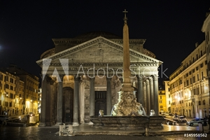Picture of Pantheon at night with fountain. It is one of the best-preserved Ancient Roman buildings in Rome, Italy.