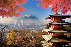 Picture of Mt. Fuji with fall colors in Japan.