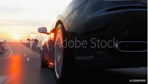 Picture of Black sport car on road, highway. Very fast driving. 3d rendering.