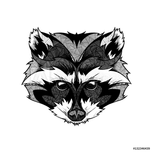 Picture of Raccoon head, illustration, black and white