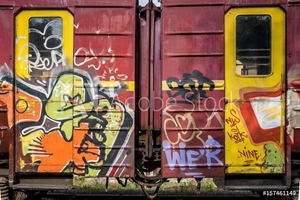 Picture of Colorfuly painted train wagons, street art concept