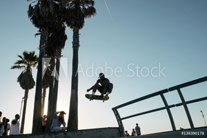 Picture of Skateboarder in mid air doing skateboard trick