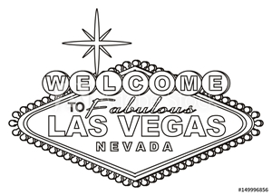 Picture of Las vegas, casino,  America, USA, illustration, cartoon, symbol, city, poker, city of sins,  travel, famous , illustration, signboard, black and white