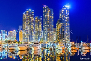 Picture of Busan city skyline view at Gwangalli beach, Haeundae district, Yacht parking at modern building architecture Haeundae beach, Busan, South Korea