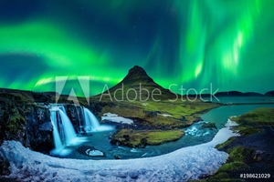 Picture of Northern Light, Aurora borealis at Kirkjufell in Iceland. Kirkjufell mountains in winter.