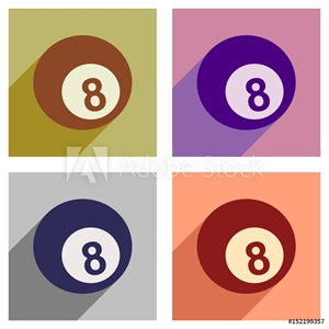 Picture of Set of flat icons with long shadow billiard ball