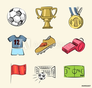 Picture of soccer icon set